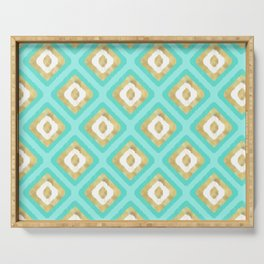 Gold & Turquoise Ikat Pattern Serving Tray