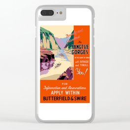 Yangtsze, China, vintage poster (red) Clear iPhone Case