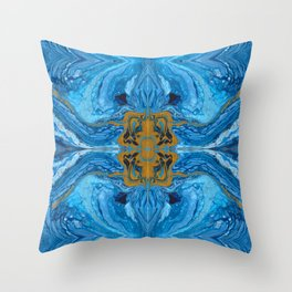 Acrylic Pour Pattern (Blue Gold) Throw Pillow
