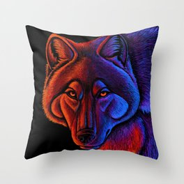 Fire Wolf Colorful Fantasy Animals Throw Pillow
