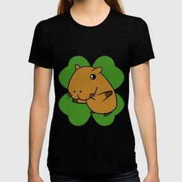 Capybara On 4 Leaf Clover- St. Patricks Day Pun T-shirt