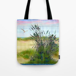 Plaid Beachscape with Seagrass Tote Bag