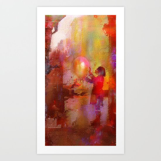 The girl with the baloon Art Print
