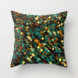 Golden Blue Polygon 03 Throw Pillow