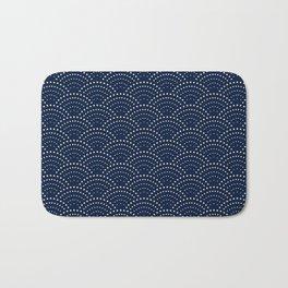 Japanese Blue Wave Seigaiha Indigo Super Moon Pattern Bath Mat