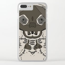 skull head and bone graffiti drawing with brown background Clear iPhone Case