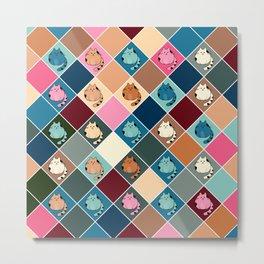 Colorful  cartoon kitty  Checkered pattern Metal Print