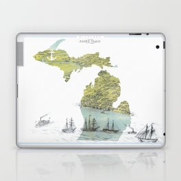 Ships Along the Shore - Michigan circa 1868 Laptop & iPad Skin