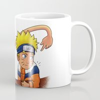 luffy Mugs featuring Luffy And Naruto eating Ramen by mannynunez