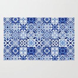Indigo Watercolor Tiles Rug
