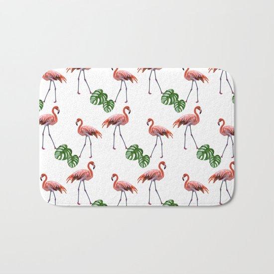 Flamingo & monstera pattern Bath Mat