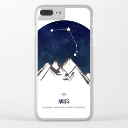 Astrology Aries Zodiac Horoscope Constellation Star Sign Watercolor Poster Wall Art Clear iPhone Case