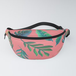 Coral tropical palm leaves Fanny Pack