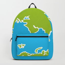 Eurasia map green continent  on blue background Backpack