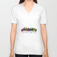 north carolina V-neck T-shirts featuring Charlotte, North Carolina Skyline by Marlene Watson