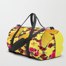 BUTTERFLIES & CLIMBING PINK & RED ROSES IN BUTTER YELLOW Duffle Bag