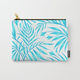 Waikiki Palm - White / Aqua Carry-All Pouch