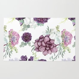 Succulents Deep Violet Lavender Pastel Green Lilac PatternSee Nature Magick for more pretty pastel c Rug