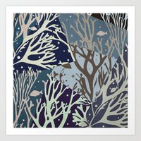 under the sea Art Prints featuring Under the Sea - Abstract by Paula Belle Flores