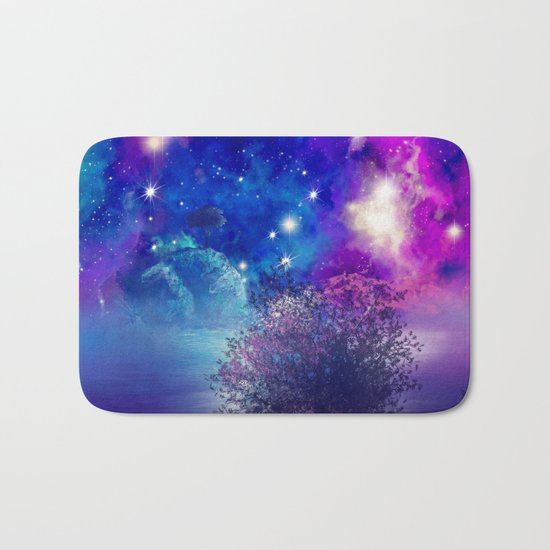 purple blue galaxy landscape Bath Mat