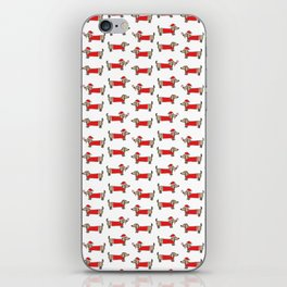 Christmas dachshund pattern iPhone Skin