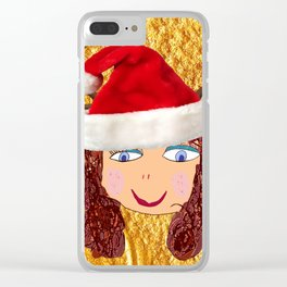 Gold Christmas | Kids Painting | Christmas Spirit Clear iPhone Case