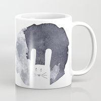 bunny Mugs featuring Moon Bunny by atmosphere alley