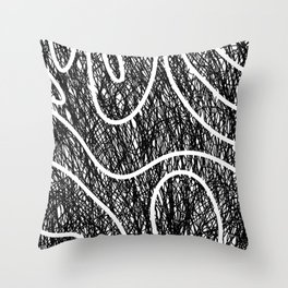 Scribble Ripples - Abstract Black and White Ink Scribble Pattern Throw Pillow