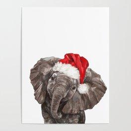 Christmas Baby Elephant Poster