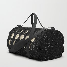 shiny moon phases on black / with stars Duffle Bag