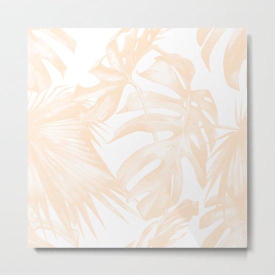 Island Vacation Hibiscus Palm Light Mango Metal Print