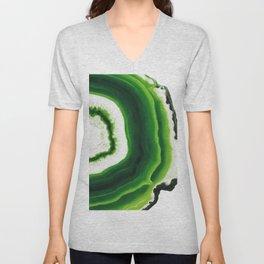 Green Agate Geode slice Unisex V-Neck