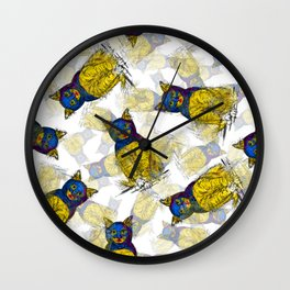 BAT CAT Pattern 1 Wall Clock