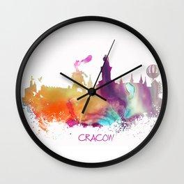 Cracow Poland skyline Wall Clock