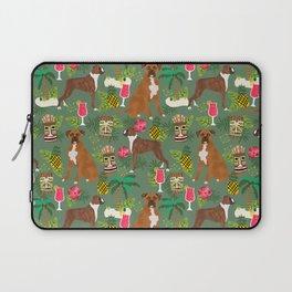 Boxer tiki tropical dog pattern modern pet friendly pet pattern dog breeds Laptop Sleeve