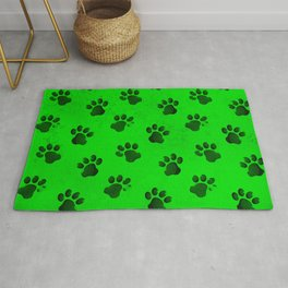 Neon Green Animal Paw Print Cats Dogs Rug
