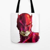daredevil Tote Bags featuring DAREDEVIL by peocle