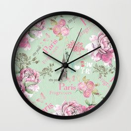 Vintage green pink floral collage typography Wall Clock