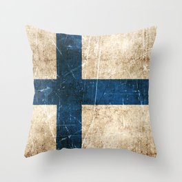 Vintage Aged and Scratched Finnish Flag Throw Pillow