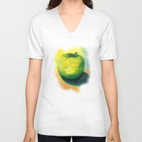 apple V-neck T-shirts featuring apple by Katja Main