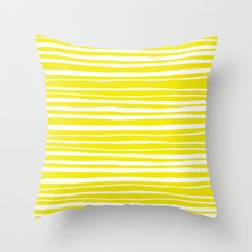 Small Sun Yellow Handdrawn horizontal Beach Stripes - Mix and Match with Simplicity of Life Throw Pillow