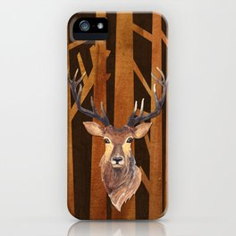 Proud deer in forest 1- Watercolor illustration iPhone Case