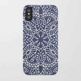 Mandala Vintage White on Ocean Fog Gray iPhone Case