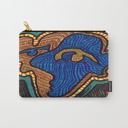 Blue and Orange Face on Torn Green Paper Carry-All Pouch