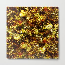 Solid Gold - Abstract, metallic gold textured pattern Metal Print