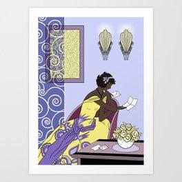 CLARICE: Art Deco Lady - Elegant Spring Art Print
