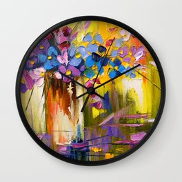 Bouquet of flowers in a vase Wall Clock