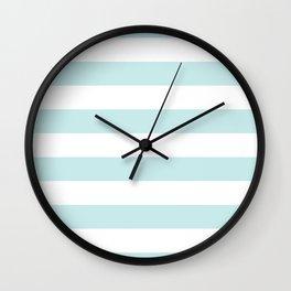 Duck Egg Pale Aqua Blue and White Wide Horizontal Cabana Tent Stripe Wall Clock