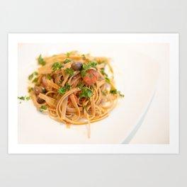 Italian Pasta with onion, tuna, and taggiasche olives. Art Print