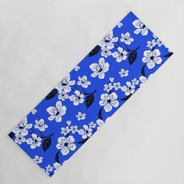 Blue Sakura Cherry Tree Flower Blooms - Aloha Hawaiian Floral Pattern Yoga Mat